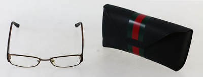 "Gucci Brown Rectangular ""GG2826"" Metal Spectacle Glasses"