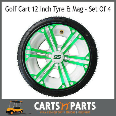 "Golf Cart Buggy Mags & Tyres -12"" Green & White SS centres"