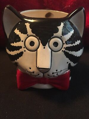 Vtg Kliban Cat Figural Head Red Bow Tie Coffee Mug Tastesetter Sigma Label