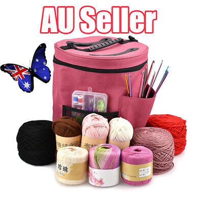 Pro Dual Slot Knitting Bag Storage For Wool Yarn Crochet Needles Tub Protects EA