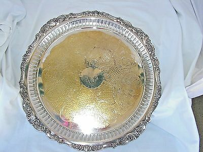 """WALLACE BAROQUE #297 SILVER on COPPER FOOTED PIERCED SERVING TRAY PLATTER  16.5"""""""