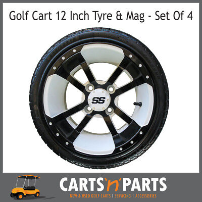 "Golf Cart Buggy Mags & Tyres -12"" White & Black SS centres"