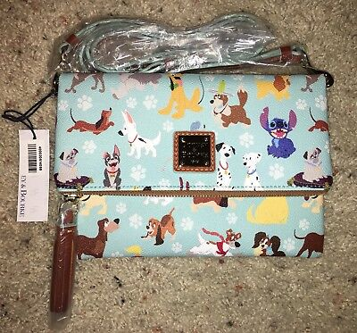 NEW Disney Dooney & Bourke, Dog Print Foldover Cross Body Purse Stitch on Front!