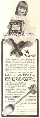 Antique 1904 Log Cabin Camp Syrup Girl Tin TOWLE MAPLE Souvenir Spoon Offer Ad