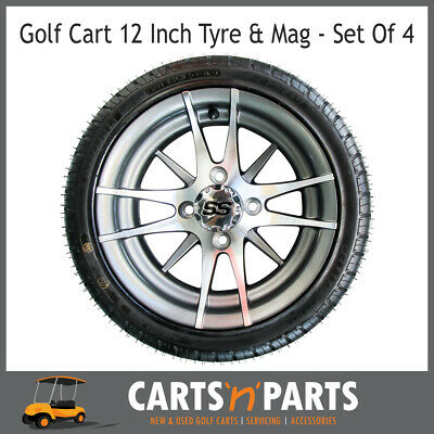 "Golf Cart Buggy Mags & Tyres -12"" Silver SS centres"