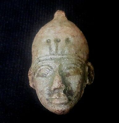 Rare Ancient Egyptian FAIENCE FACE OF MAN AMULET  (600–1000 BC