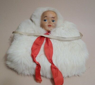 Antique Vintage Child's Rabbit Fur 50s Muff Winter Hand Warmer with Doll Head