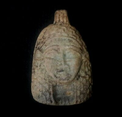 Rare Ancient Egyptian FAIENCE FACE OF WOMAN AMULET  b(600–1000 BC