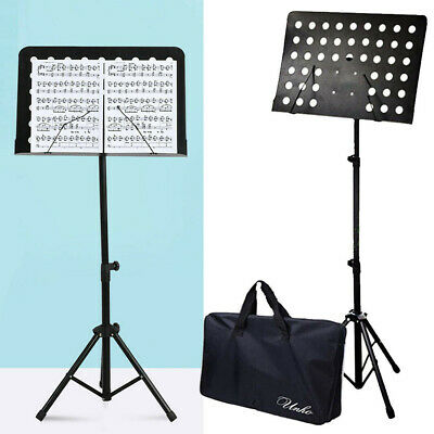 Black Professional Sheet Music Stand Height Adjustable Portable Folding with Bag