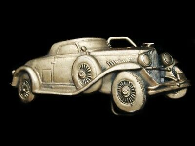 Lk23144 *nos* Vintage 1978 Cut-Out ***antique Car*** Solid Brass Belt Buckle