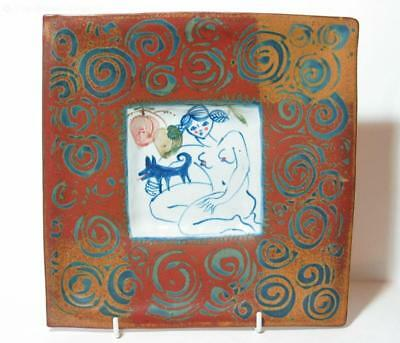 Square Dish with Central Nude, Australian Studio Pottery
