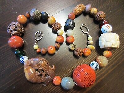 Gorgeous Chinese Carved Gemstone Shou Bead Jade Wood Agate Cinabar etc Necklace