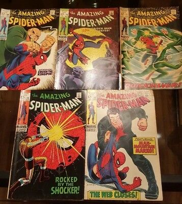 Lot of 5 Marvel Comic Books The Amazing Spider-Man Issues 69 70 71 72 73 1969