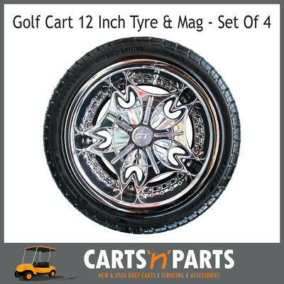 "Golf Cart Buggy Mags & Tyres -12"" Silver GT centres"