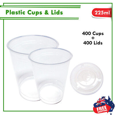 Drinking Plastic Clear Cups With Flat Lids 400pc 225ml Water Cup Bulk