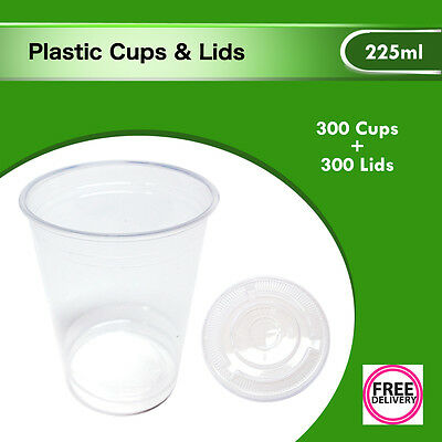 Plastic Disposable Clear Cups and Flat Lids 300pc Drinking 225ml Party Bulk