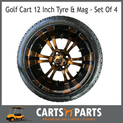 "Golf Cart Buggy Mags & Tyres -12"" Brown & Black SS centres"