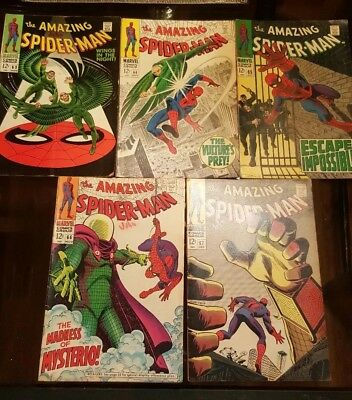 Lot of 5 Marvel Comic Books The Amazing Spider-Man Issues 63 64 65 66 67 1968