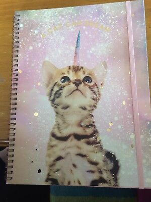 "New Typo A4 Spinout Notebook Journal 120 pages ""A Cat can dream"""
