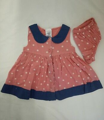 Tiny Little Wonders Baby Girl Dress & Nappy Cover size 000 Apricot White Spots
