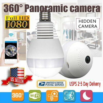 360 Degree Panoramic 1080P HD Hidden Wifi Camera Light Bulb Security IP Cam Lamp