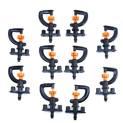 10Pcs 360° Garden useful Irrigation Micro Black Adjustable Sprinkler Heads+Shelf