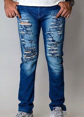 Mens SKINNY Casual SLIM Stretch Trousers Distressed Ripped FIT Denim Pants JEANS