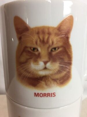"""Set of 2 Vintage 1980's """"Morris The Cat"""" 9 Lives Coffee Mugs By Papel -"""
