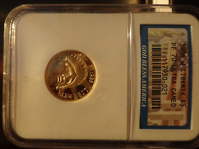 US 1986-W Statue of Liberty $5 gold commemorative coin, NGC PR70