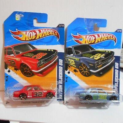 FERMAR4020 two datsun bluebird 510 V-27  92/247  hot wheels tarjetas maltratadas