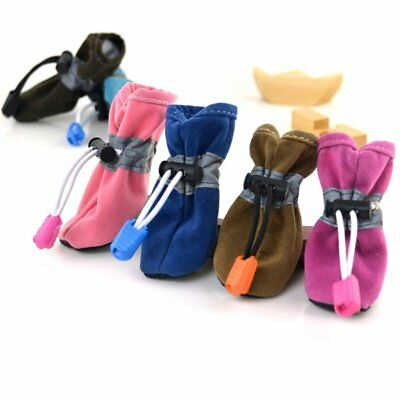 USA 4PCS Pet Puppy Winter Warm Shoes Booties Dog Cat Protective Anti-Slip Boots