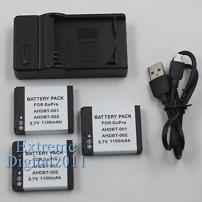 3x Battery For GoPro AHDBT-001 AHDBT-002 Battery + Charger For GoPro HD Hero 2