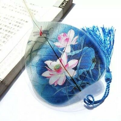 Artistic Water Lily 100% Real Leaf Veins Bookmark Best Gift for her and him