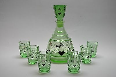 Vtg Czech Art Deco Green Glass Decanter 6 Glasses Set