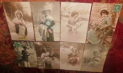 Estate 8 x 1910 French Costume Lady Furs Hats Snow Photo Greeting Postcards