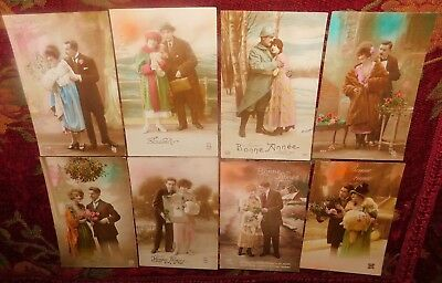 Estate 8 x 1920s French Romantic Couple Hats Furs Photo Greeting Postcards