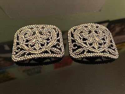 Antique Jewelry Super  Steel Cut Shoe Buckles Signed France