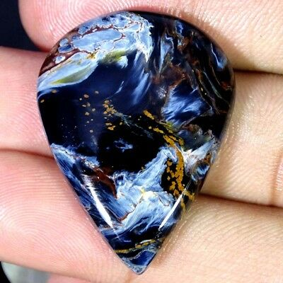 34.30Cts 100% Natural Designer Blue Pietersite Pear Cabochon Loose Gemstone