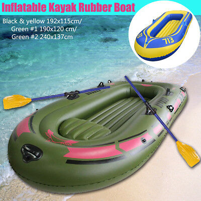 Inflatable Kayak Rubber Boat 2/3 Person Fishing Rafting Dinghy + Oars Rope&Pump