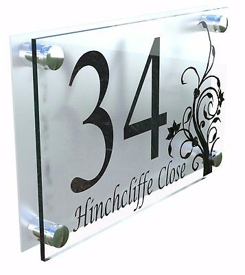Modern House Number Plaques Acrylic Wall Door Sign Flowers Name Plate Dec4-13BS