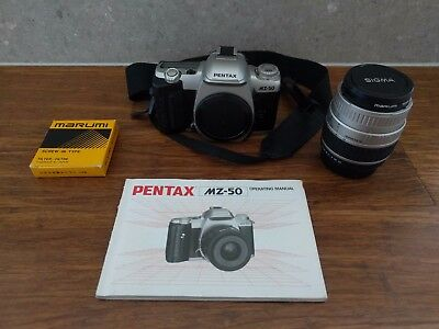 Pentax MZ-50 SLR 35mm Film Camera with Sigma Zoom Lens (28-80mm) with UV filter
