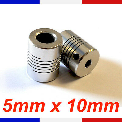 Coupleur 5x10mm Aluminium - coupler flexible Shaft 5 X 10 mm - Reprap France Cnc