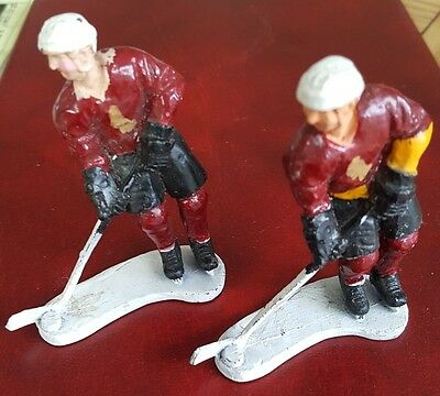 ICE HOCKEY PLAYERS x 2  Maroon/Black/Yellow ; Diecast action figures