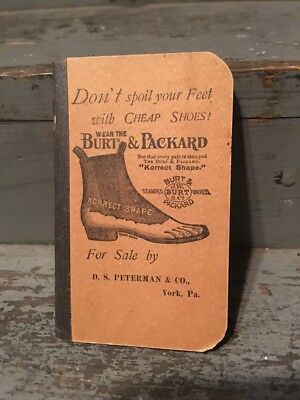 BURT PACKARD SHOE ADVERTISING D.S. PETERMAN & Co YORK PA MEMO BOOKLET