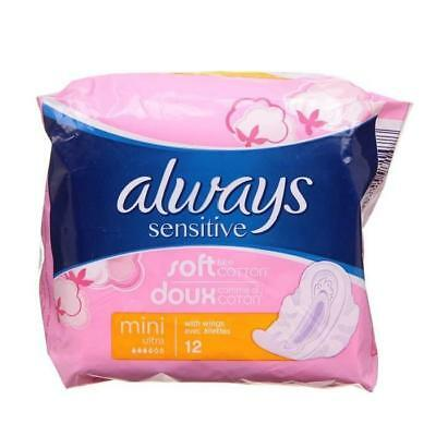 ALWAYS SENSITIVE Serviettes hygiéniques Mini Ultra avec ailettes - Lot de 3