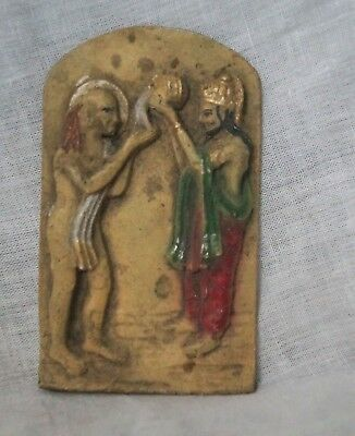ANTIQUE RESIN indian king and sadhu figure size 4x3 inch