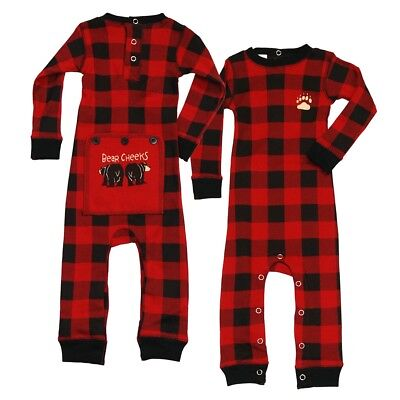 LazyOne Unisex Plaid Bear Cheeks All-in-One Flapjack Infant