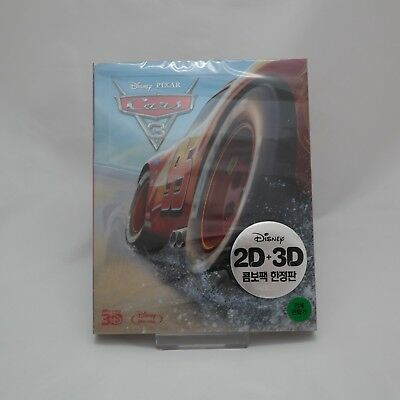 Cars 3 (2017, Blu-ray) 2D + 3D Combo Steelbook w/ PET Slip Case