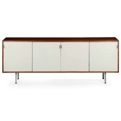 Florence Knoll Walnut & Lacquered Sideboard Office Cabinet Credenza, circa 1960s