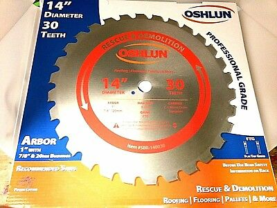 """Oshlun SBR-140030 14-Inch 30 Tooth FTG Saw Blade with 1-Inch Arbor (7/8"""")"""